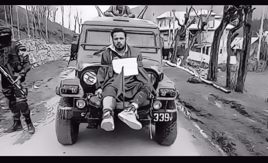 Farooq Ahmad Dar being used as a human shield. Credit: Video screengrab