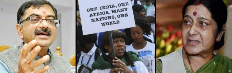 Tarun Vijay, African students protesting racism in India, Sushma Swaraj. Credit: PTI