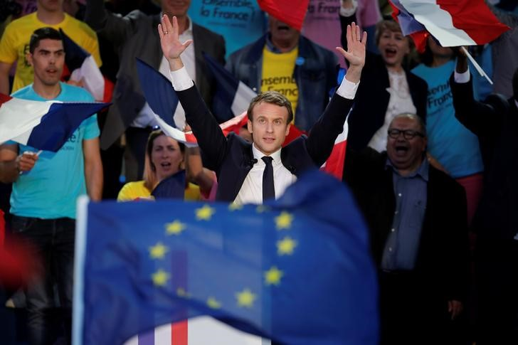 Emmanuel Macron, head of the political movement En Marche !, or Onwards !, and candidate for the 2017 presidential election, attends a campaign rally in Albi, France, May 4, 2017. Credit: Reuters/Benoit Tessier