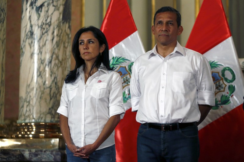 Peru's then President Ollanta Humala (R) and his wife Nadine Heredia attend a ceremony at the Government Palace in Lima, Peru in this July 30, 2015 file photo. Credit: Reuters/ Mariana Bazo/File Photo