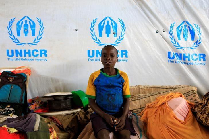 A boy displaced by fighting in South Sudan arrives in Lamwo after fleeing fighting in Pajok town across the border in northern Uganda, April 5, 2017. Credit: Reuters/James Akena