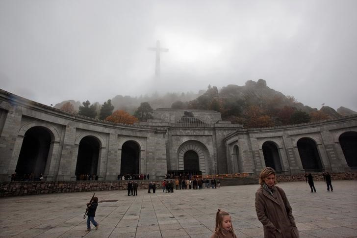 FILE PHOTO: People leave after attending mass at the basilica where the tombs of Spain's former dictator General Francisco Franco and Jose Antonio Primo de Rivera, founder of the right-wing group Falange, lie in the Valle de los Caidos (Valley of the Fallen) near Madrid November 20, 2011. Credit: Reuters/Susana Vera/File Photo