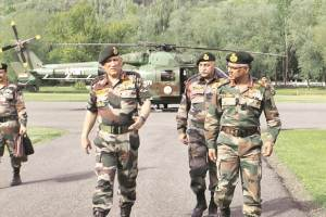 Army chief Bipin Rawat arrives in Srinagar. Credit: PTI