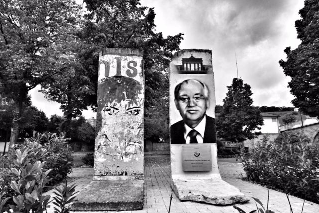 Parts of the Berlin Wall are showcased as an epitome of hostility and barbarism. Former USSR leader Gorbachev is seen as a messiah of peace. Credit: Shome Basu/The Wire