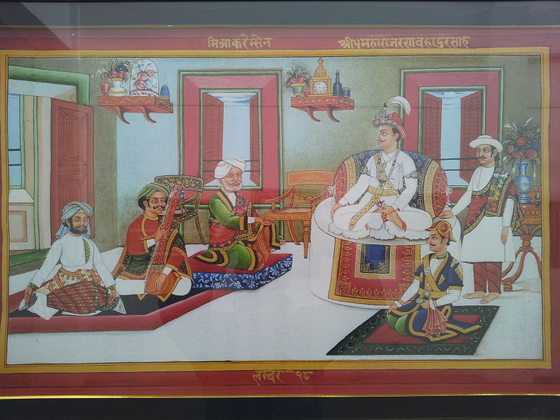 King Rana Bahadur Shah and Bhimsen Thapa listening to the Mitra Karem Sen's singing. Credit: Wikimedia