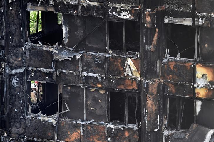 Firefighters at the Grenfell Tower block which was destroyed in a disastrous fire, in north Kensington, West London, Britain June 16, 2017. Credit: Reuters/Hannah McKay