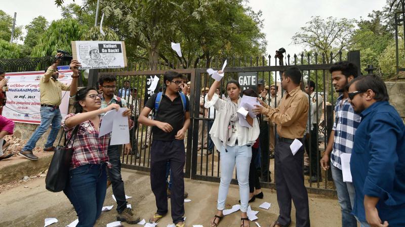 IIMC students protesting Kalluri's visit. Credit: PTI
