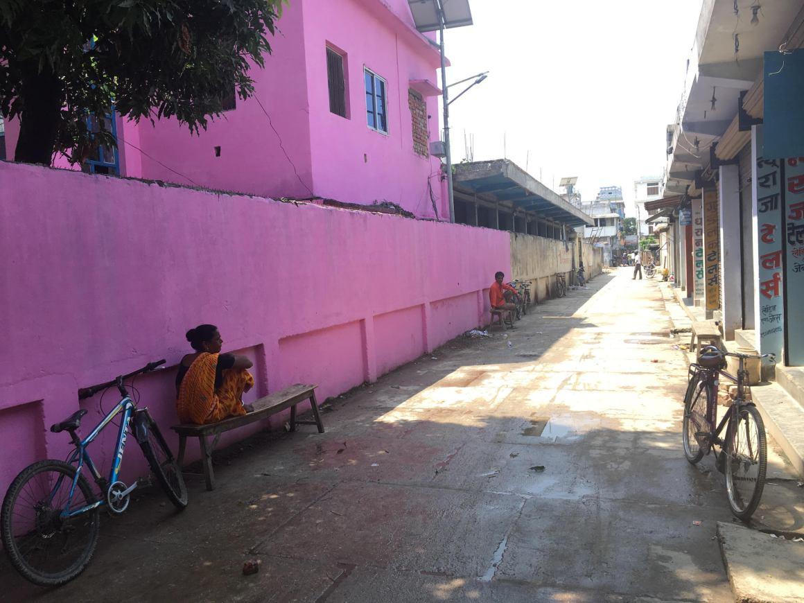 A street in the Rajbiraj bazaar.