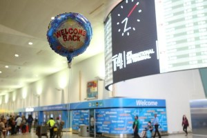 "A balloon reading ""Welcome Back"" is seen at the arrival hall at Terminal 4 of JFK airport after US President Donald Trump's limited travel ban was approved by the US Supreme Court, in New York City, US, June 29, 2017. Credit: Reuters/Joe Penney"