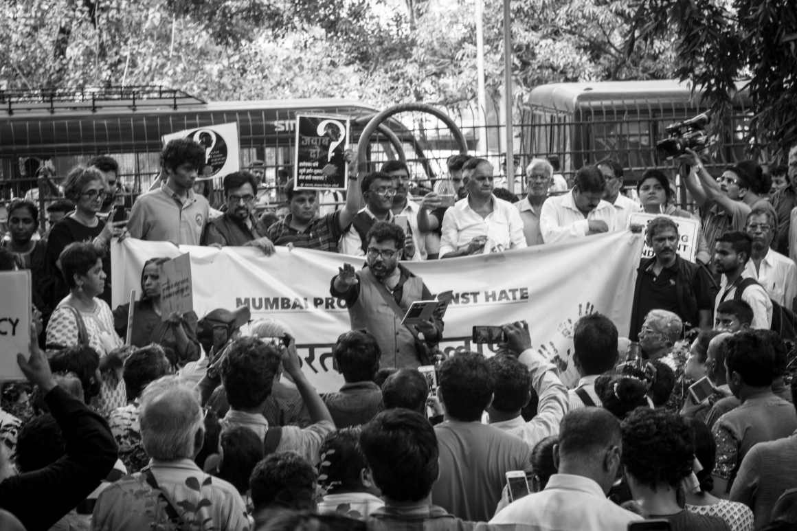 The protest began at Veer Kotyal Udyan in Dadar where many activists and artists went up to give speeches or perform. Credit: Prthvir Solanki