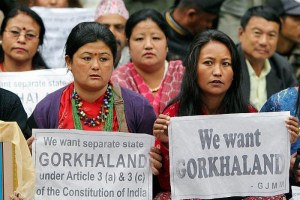 Gorkha Janmukti Morcha activists stage a dharna demanding separate Gorkhaland at Jantar Mantar in New Delhi, India, on 3 Mar 2011. Credit: PTI