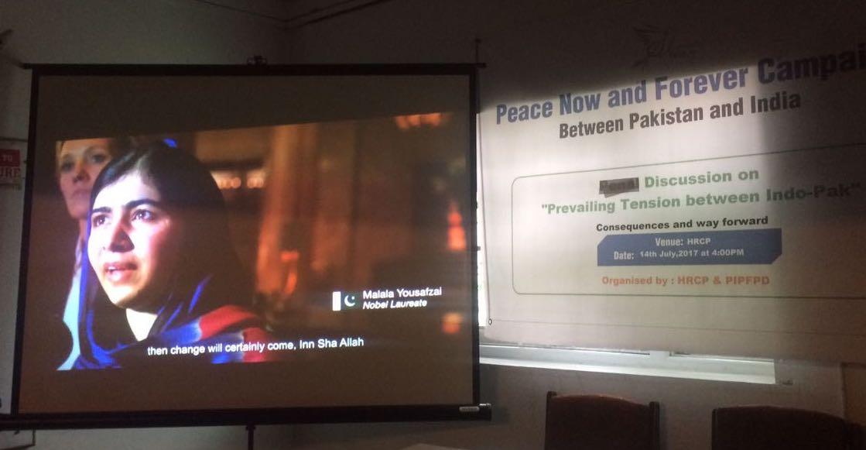 At the Karachi seminar on July 14, screening of Pakistani-Norwegian Aman Sheikh and Indian-Norwegian Simrat Kaur's short film Ek (One) featuring youth icon Malala Yusufzai. Credit: Ali Arqam