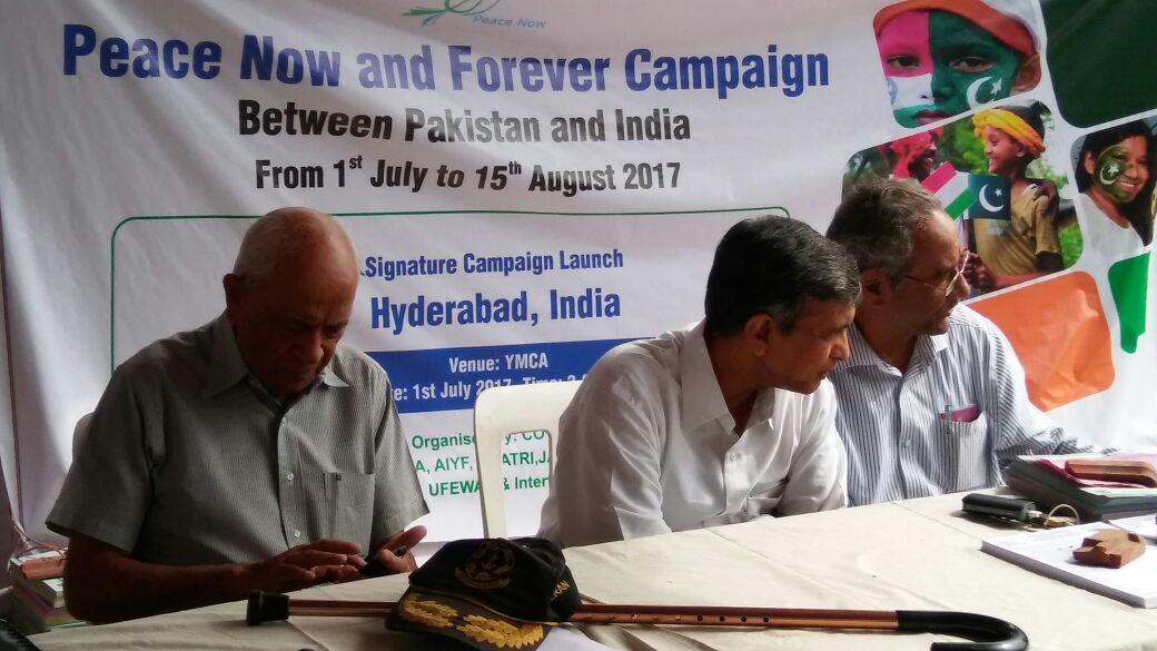 Hyderabad launch on July 1 – Magsaysay awardees Admiral Ramdas and Jayaprakash Narayan at the launch. Photo courtesy: Mazher Hussain, COVA