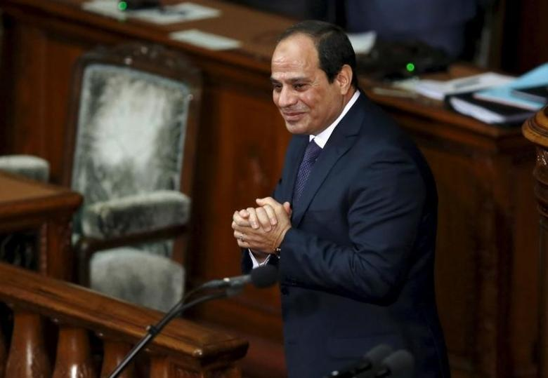 Egypt's President Abdel Fattah al-Sisi reacts after delivering a speech at the Lower House of parliament in Tokyo, Japan, February 29, 2016. Credit: Reuters/Toru Hanai