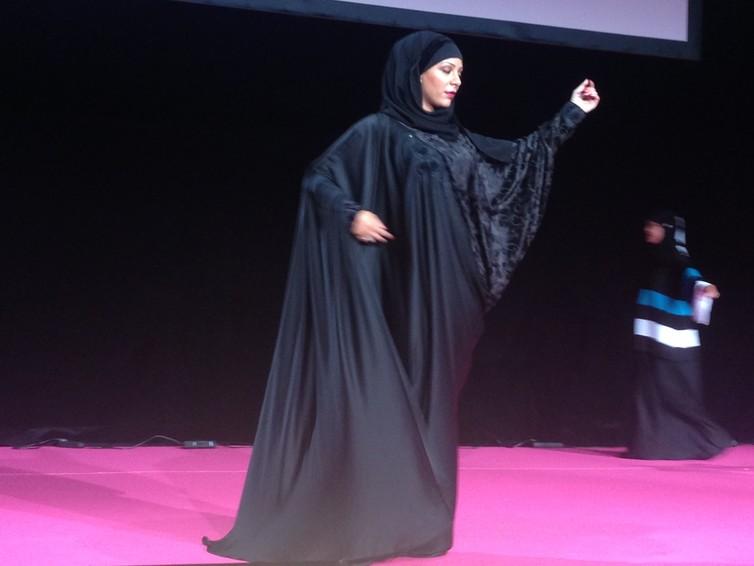 A fashion show in a French 'Muslim women' fair in Pontoise.' Credit: Carol Mann