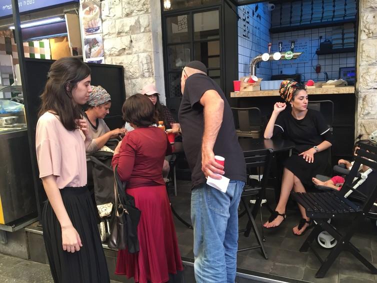 Orthodox Jewish women wearing headgear in Jerusalem, Israel. Credit: Carol Mann