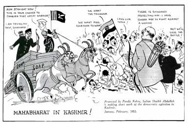 kashmir cartoon 1953 nehru and Sheikh Abdullah.png