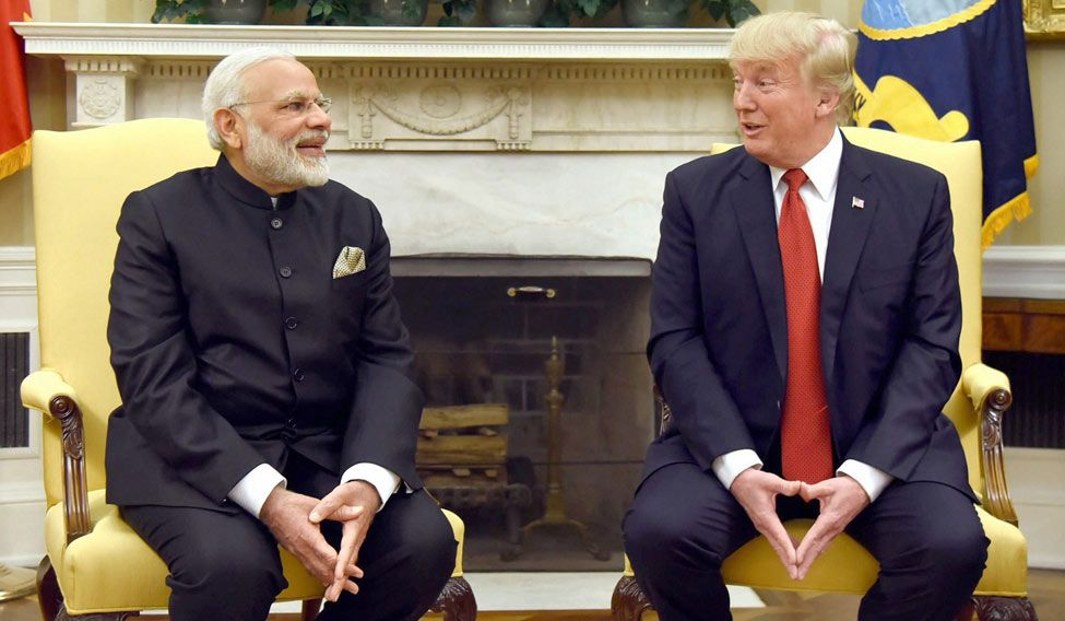 Prime Minister Narendra Modi with US President Donald Trump at the White House in Washington DC. Credit: PTI