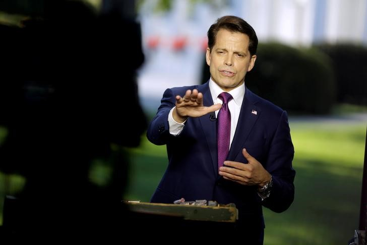 White House communications director Anthony Scaramucci speaks during an on air interview at the White House in Washington, US, July 26, 2017. Credit: Reuters/Joshua Roberts/Files