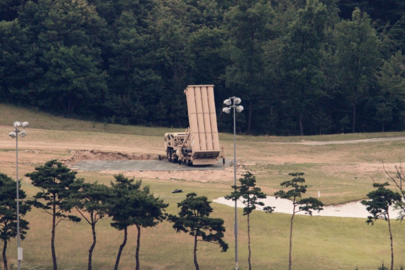 A Terminal High Altitude Area Defense (THAAD) interceptor is seen in Seongju, South Korea, June 13, 2017. Picture taken on June 13, 2017. Credit: Reuters/Kim Hong-Ji