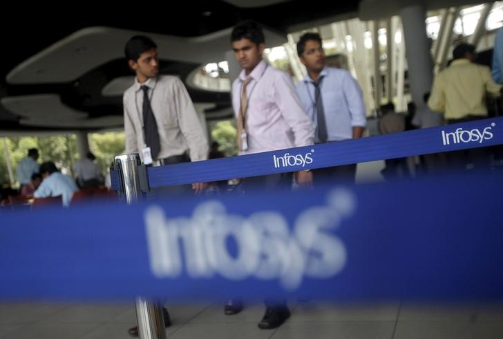 Employees of Infosys walk past Infosys logos at their campus in the Electronic City area in Bengaluru, India, September 4, 2012. Credit: Reuters/Vivek Prakash/File photoEmployees of Infosys walk past Infosys logos at their campus in the Electronic City area in Bengaluru, India, September 4, 2012. Credit: Reuters/Vivek Prakash/File photo