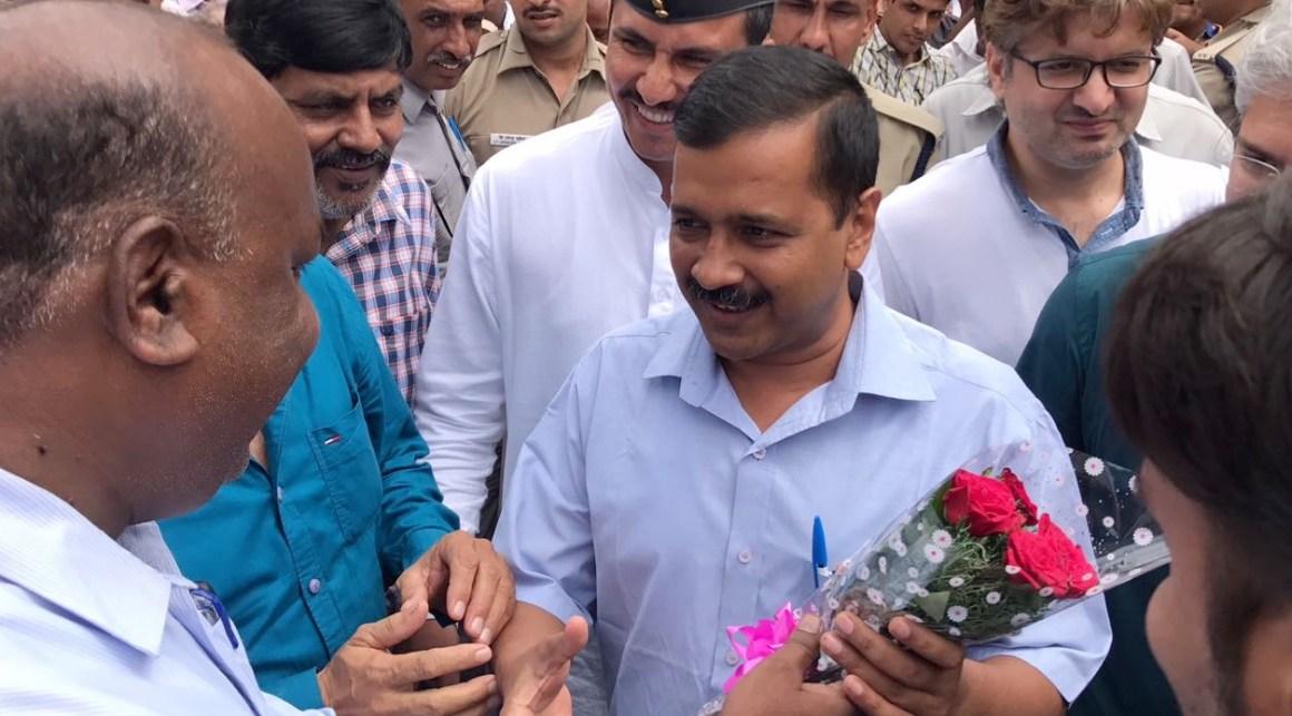 Delhi CM Arvind Kejriwal in Bawana after AAP's win. Credit: Twitter/AAP