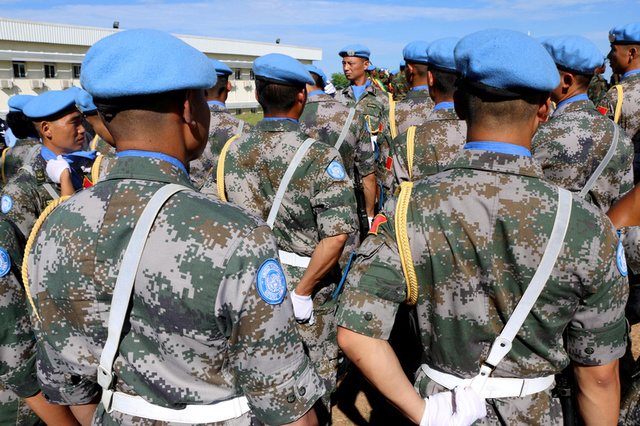 Chinese Peacekeepers in the United Nations Mission to South Sudan (UNMISS) parade during the International Day of United Nations Peacekeepers in Juba, South Sudan May 29, 2017. Credit:Reuters