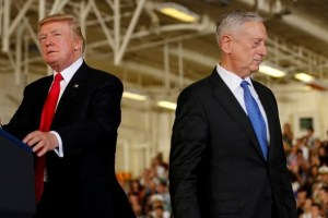 U.S. President Donald Trump (L) is introduced by Defense Secretary James Mattis (R) during the commissioning ceremony of the aircraft carrier USS Gerald R. Ford at Naval Station Norfolk in Norfolk, Virginia, U.S. on July 22, 2017. Credit:Reuters