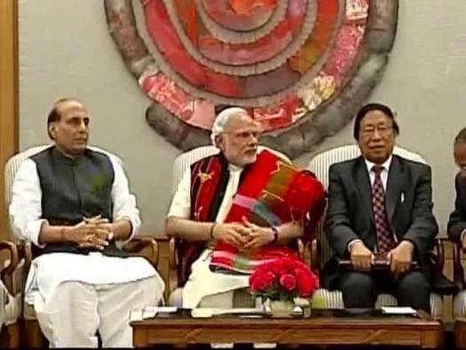 Home minister Rajnath Singh, PM Narendra Modi and T Muivah of NSCN (I-M. Credit: PTI