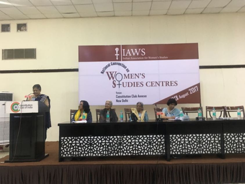 From left, Padmini Swaminathan, Devika Jain, Maitreyi Krishnaraj, Kumur Sharma and Malini Bhattacharya. Credit: Amanat Khullar/The Wire