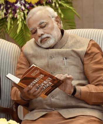 Prime Minister Narendra Modi at the launch of <em>Getting India Back on Track</em>. Credit: PTI