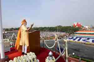 Prime Minister Narendra Modi addresses the nation during on India's 71st Independence Day, from the ramparts of the historic Red Fort in New Delhi on Tuesday. Credit: PTI/Shirirsh Shette
