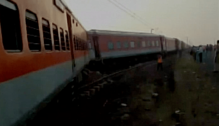 The Kaifiyat Express after it derailed. Credit: Twitter/ANI UP