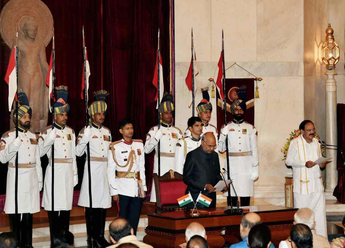 President Ram Nath Kovind administering the oath of office and secrecy to Venkaiah Naidu. Credit: PTI/Manvender Vashist
