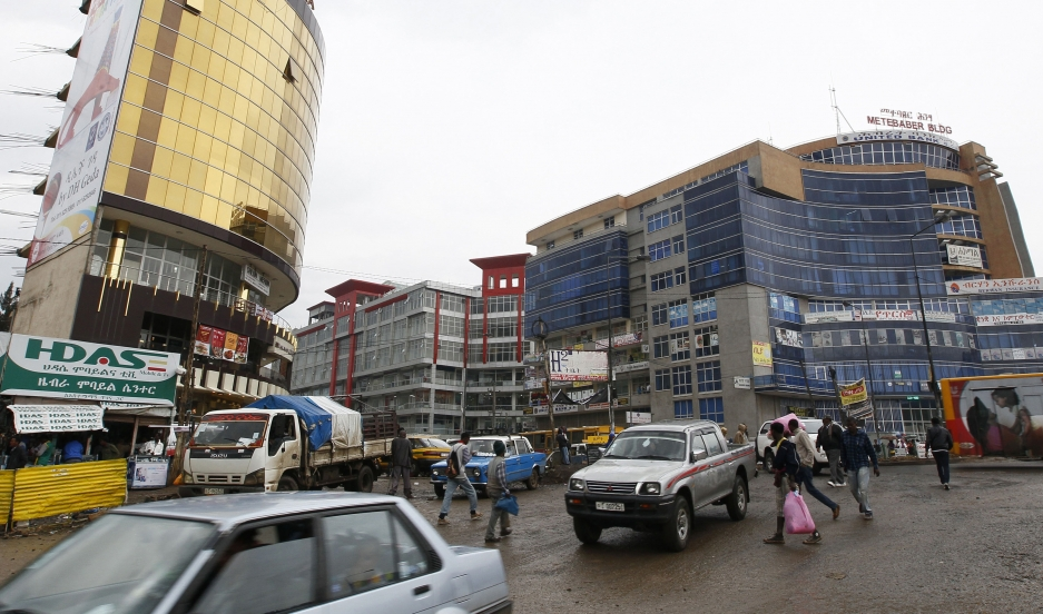 People walk through the streets of a shopping area in Addis Ababa. Credit: Reuters