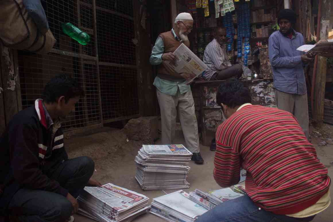 Newspapers being decked for distribution in Batla House. Credit: Nabeela Paniyath/The Wire