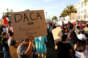 Alliance San Diego and other Pro-DACA supporters hold a protest rally, following U.S. President Donald Trump's DACA announcement, in front of San Diego County Administration Center in San Diego, California, U.S., September 5, 2017. Credit: Reuters/John Gastaldo