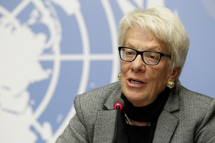 Carla del Ponte speaks during a news conference at the United Nations European headquarters in Geneva, Switzerland, February 8, 2016. Credit:Reuters/Pierre Albouy/Files