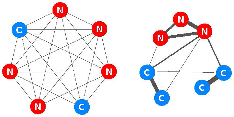 Fig 2. If everyone is equally connected to everyone else, cooperators are at a disadvantage. But if individuals have strong connections to only a few others, cooperation can spread locally to form clusters of mutual aid, eventually taking over the whole population. Credit: Benjamin Allen