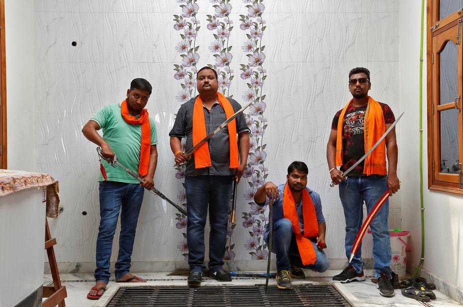 Members of the Hindu Yuva Vahini in Uttar Pradesh. Credit: Reuters/Cathal Noughton