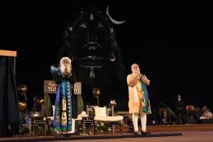 Prime Minister Narendra Modi and Jaggi Vasudev unveiling the Shiva statue at the ashram. Credit: narendramodi.in