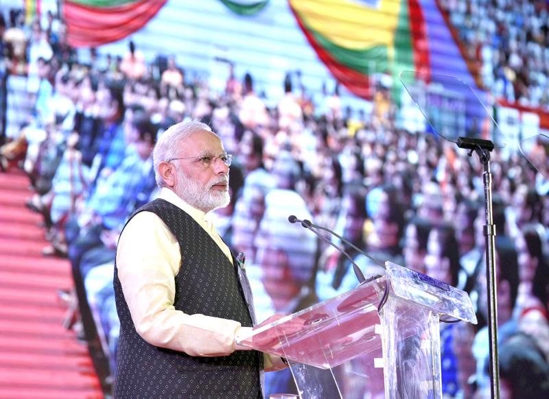 Prime Minister Narendra Modi addressing the Indian community event at Yangon, Myanmar on September 06, 2017. Credit: PIB