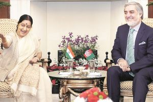 External Affairs Minister Sushma Swaraj with Chief Executive Officer and Head of the Council of the Ministers of Afghanistan, Abdullah Abdullah during a meeting in New Delhi. Credit: PTI