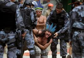 Brazil's native tribe in an altercation. Credit: Reuters