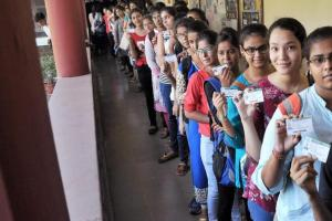 Delhi University students lining up to vote on Tuesday. Credit: PTI
