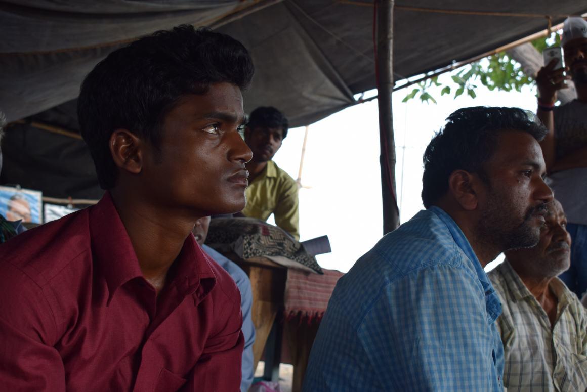 Kanhai Patel (R), who was on a hunger strike. Credit: Aruna Chandrasekhar
