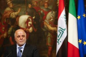 Iraqi Prime Minister Haider Al-Abadi looks on during a joint news conference with Italian Prime Minister Matteo Renzi at the end of a meeting at Chigi Palace in Rome, Italy February 10, 2016. Credit: Reuters