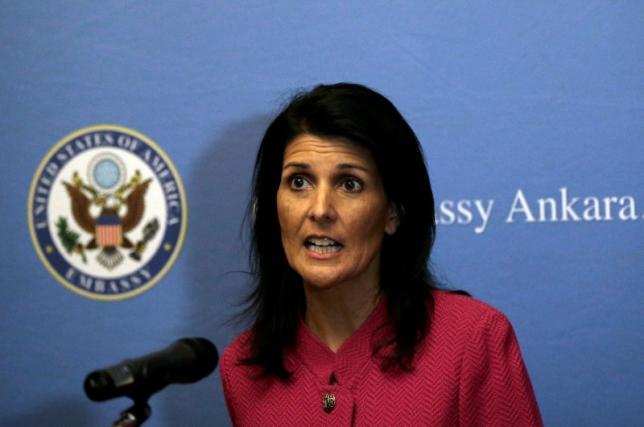 U.S. Ambassador to the United Nations Nikki Haley speaks to the staff at the U.S. Embassy in Ankara Turkey