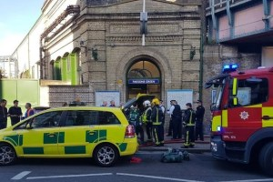Emergency services attend the scene following a blast on an underground train at Parsons Green tube station in West London, Britain September 15, 2017, in this image taken from social media. Credit: Reuters