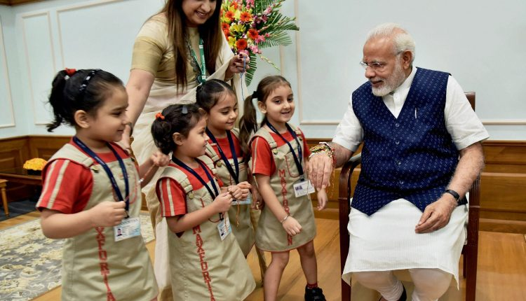 School children with PM Modi